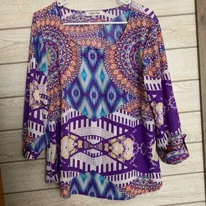 Purple & Multi Colored Scoopneck Blouse